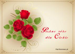 e Kartki  Piękne róże dla Ciebie,