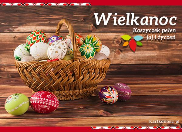 Koszyczek pełen jaj i życzeń