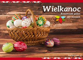 e Kartki  z tagiem: Kartki świąteczne Koszyczek pełen jaj i życzeń,