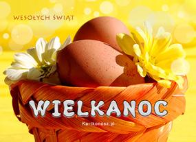 eKartki Wielkanoc Jajeczka w koszyczku,