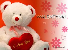 eKartki Miłość - Walentynki Biały miś dla dziewczyny,