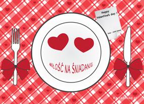 eKartki Miłość - Walentynki Miłość na śniadanie,