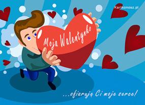 eKartki Miłość - Walentynki Ofiaruję Ci moje serce,