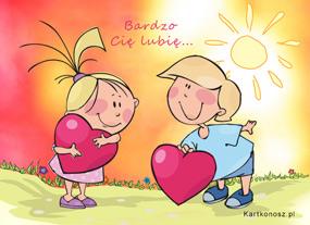 e Kartki Miłość - Walentynki Bardzo Cię lubię,