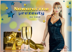 e Kartki Nowy Rok Noworoczne prezenty,