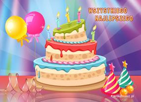 Kolorowy tort urodzinowy