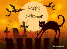 e Kartki Halloween Wystraszony Kocur,