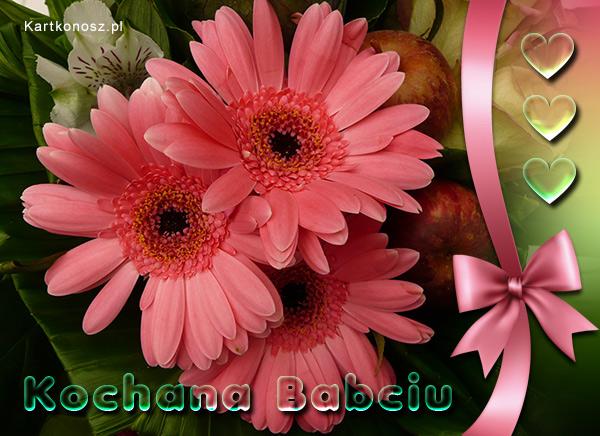 Kartka z kwiatami dla Babci