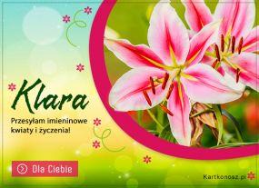 Kwiaty i życzenia dla Klary