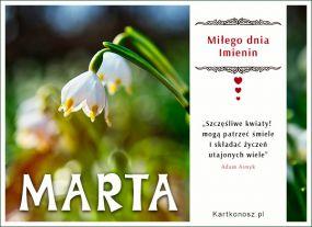 Kwiaty i życzenia dla Marty