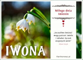 e Kartki  Kwiaty i życzenia dla Iwony,