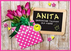 e Kartki Imieniny -> Imienne Damskie Tulipany dla Anity,