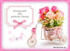 e Kartki Kwiaty Koszyczek dla pięknej Damy,