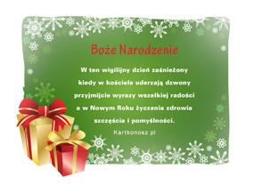 eKartki Boże Narodzenie Wigilijny dzień,