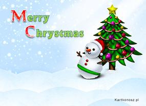 eKartki Boże Narodzenie Zaśnieżony bałwanek,