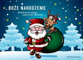 eKartki Boże Narodzenie Nadchodzi Mikołaj,