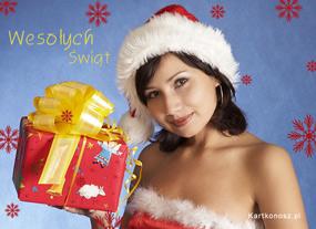 eKartki Boże Narodzenie Mikołajka i prezent,