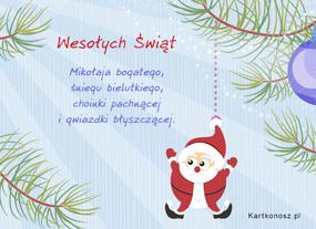 eKartki Boże Narodzenie Wiszący Mikołajek,