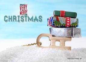 eKartki Boże Narodzenie Świąteczne saneczki,